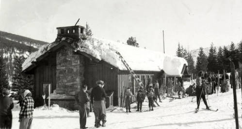 Idaho Ski Club at Lookout Pass lodge 1949